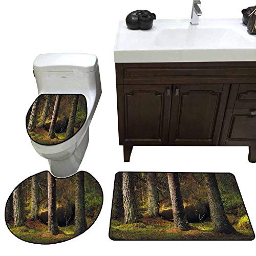 3 Piece Toilet mat Set Magic Home Decor Collection Deep Dark in The Enchanted Forest with Magical Trees in Evening Light Mystical Theme Pattern Rug Set Green Brown