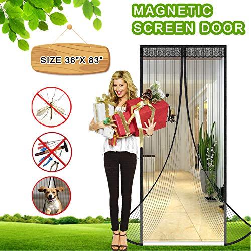 (Magnetic Screen Door Full Frame Magnetic Door Screen with Heavy Duty Mesh Curtain Pet Friendly Bugs Out Screen Door Insect Out Screen Door Mosquito Magnetic Door Screen Door Net (FITS 34