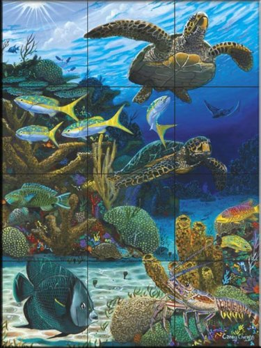 - Ceramic Tile Mural - Caymen Turtles- by Carey Chen - Kitchen backsplash/Bathroom shower