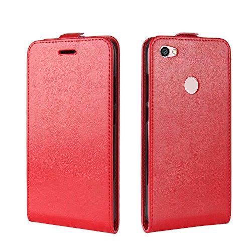 Para Xiaomi Redmi Note 5A / 5A Prime Caso compacto de piel PU, arriba-abajo piel abierta PU Funda de piel con ranura para tarjeta y función de protección completa con cierre magnético Caja a prueba de rojo