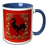 3dRose Doreen Erhardt New Year Collection - Chinese Zodiac Year of the Rooster Chinese New Year Red, Gold and Black - 11oz Two-Tone Blue Mug (mug_101850_6)