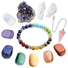 Top Plaza 11 pcs Chakra Crystal Healing Kit, Lot of 7 Chakra Tumbles Stones,Chakra Bracelet, Amethyst Cluster, Rose Quartz Wand, Clear Quartz Cluster Bohemian Meditation Set