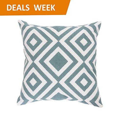 Brilliant Geometric Embroidery Cushion Turquoise