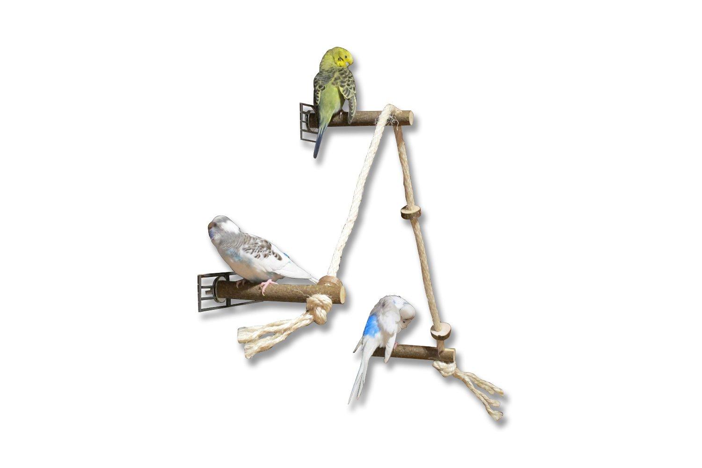 Vogelgaleria Corde en sisal avec 3 perchoirs en bois naturel et 'anneaux à grignoter Pour oiseaux