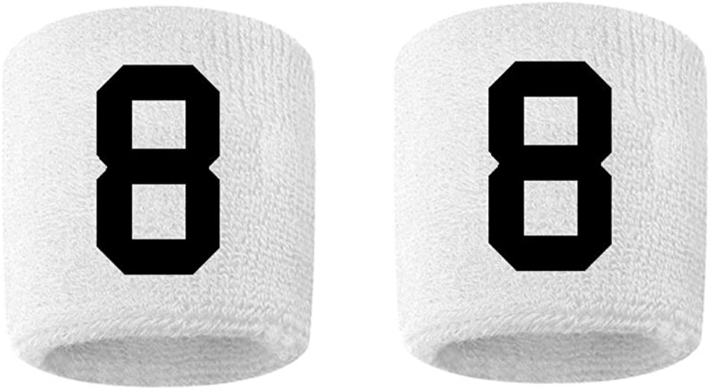 #8 Embroidered/Stitched Sweatband Wristband White Sweat Band W/ Black Number (2 Pack)