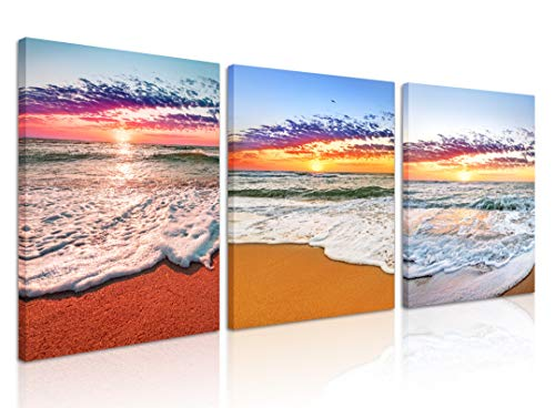 (Natural art Canvas Wall Art Decor -Gold Beach Pictures Decorative and Modern Multi Panel Split Canvas Prints for Dining Living Room Kitchen Bedroom Bathroom Office, 12 X 16 Inches 3 Piece Set)