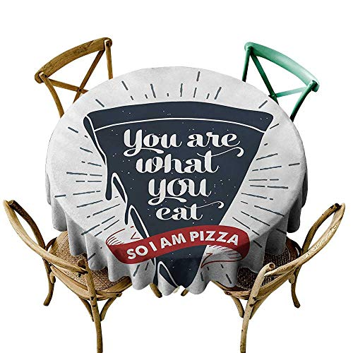 funkky Washable Table Cloth Funny Words Grunge Pizza Slice with Retro Effect Humor Phrase About Fast Food Great for Buffet Table D70 -