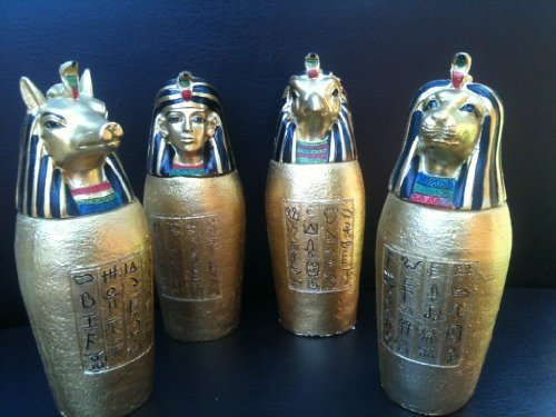 Set of 4 Egyptian Gold God Canopic Jars Statue Figure Ornament Ancient Egypt by Funky Gadget Store