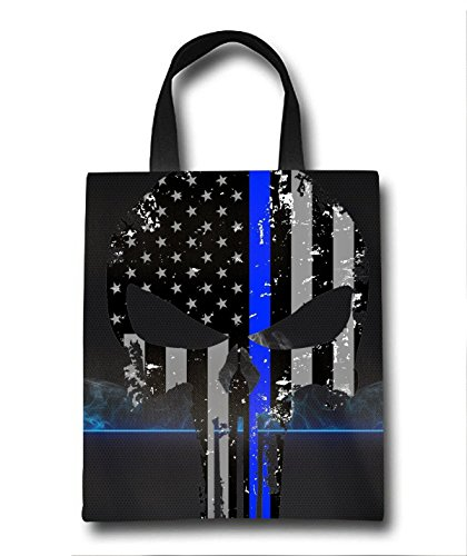 American Flag Skull Beach Tote Bag - Toy Tote Bag - Large Lightweight Market, Grocery & Picnic by Linhong