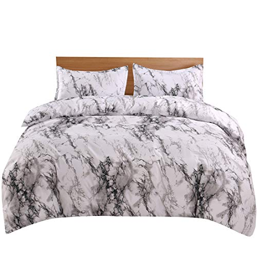 YMY Lightweight Microfiber Bedding Duvet Cover Set, Marble Pattern (White Marble, Twin)