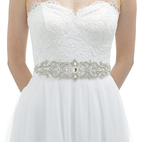 AW Rhinestone Wedding Dress Belt Bridal Sash with Satin Ribbon