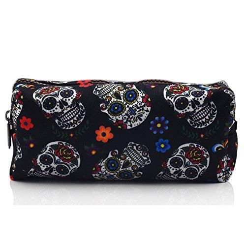(Sugar Skull Pencil Case Students Super Large Capacity Canvas Pen Bag Pouch Stationary Case Makeup Cosmetic Bag (Black) )