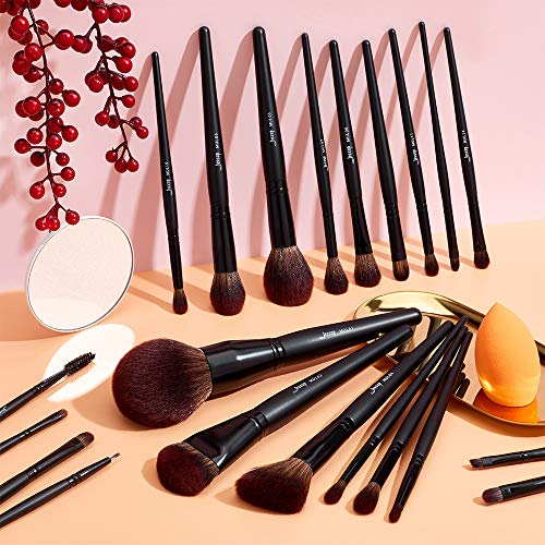 Jessup Makeup Brushes Set Premium Synthetic Powder Foundation Highlight Concealer Eyeshadow Blending Eyebrow Liner…