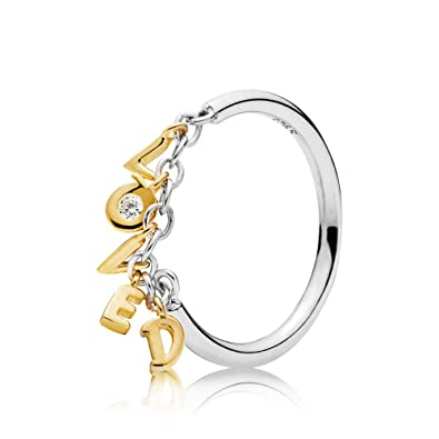 17bae0f4a PANDORA Loved Script Ring 18k Gold Plated PANDORA Shine Collection, Size:  EUR-50