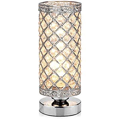 Table Lamp, Petronius Crystal Table Lamps, Decorative Bedside Nightstand Desk Lamp Shade for Bedroom, Living Room, Dining Room, Kitchen - Sophisticated style and elegant look: With beautifully cut crystals set in a chrome metal frame, the stunning table lamp will add a touch of glamour to any room . Reflect and refract light to exquisite and opulent effect: 100% genuine K9 crystals refract natural daylight when the desk lamp switched off and sparkle when lit. Perfect for bringing dark corners to life and giving spaces added warmth and character. Quick to install, convenient to use: installation is truly painless with step by step instructions, perfect for any do-it-yourself project. The ON/OFF SWITCH bedside table lamp with 59inch/1500mm cable makes this Night Light Lamp convenient to turn on /off even when you lie in the bed. - lamps, bedroom-decor, bedroom - 51EwgKcnk7L. SS400  -