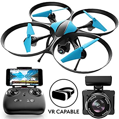 Drone with Camera Live Video Quadcopter – U49WF RC WiFi FPV Drones with Camera for Adults or Kids, 720p HD Camera Drones for Beginners w/Extra Battery from Force1