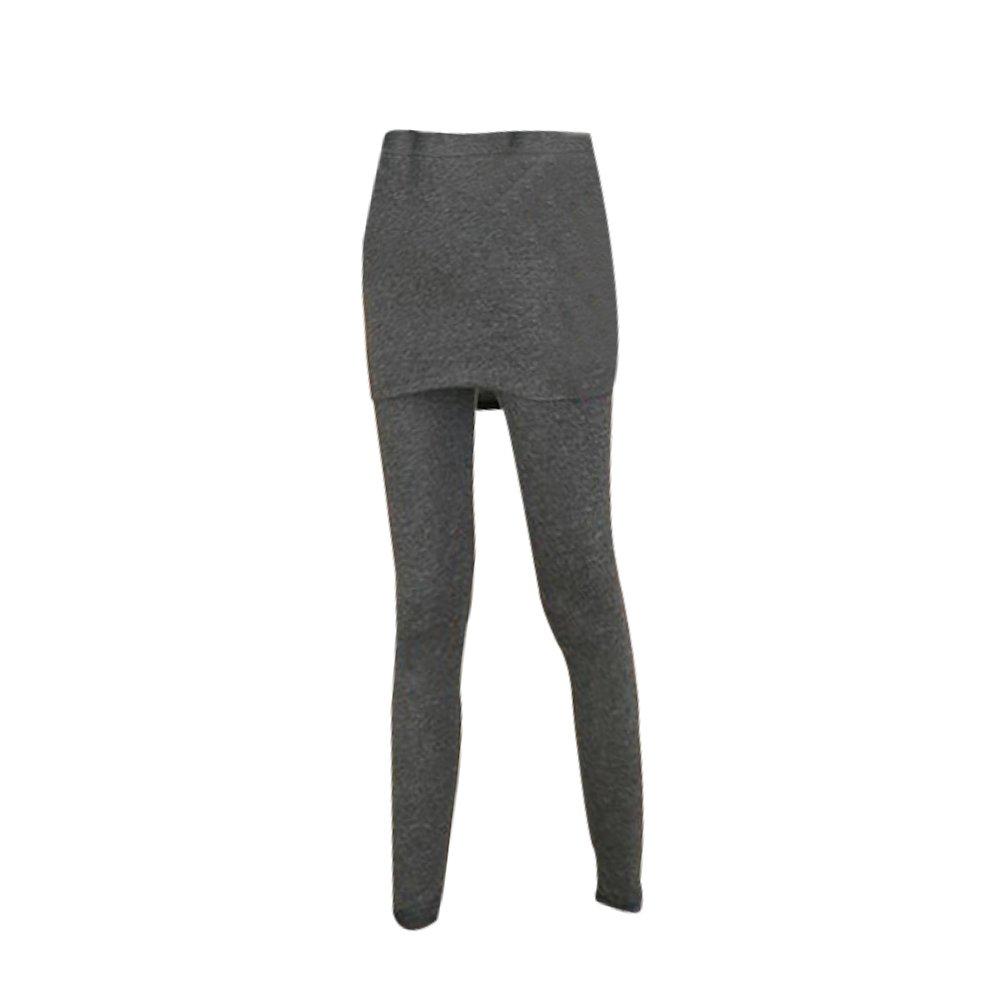 LUOEM Collant Femme Hiver avec Mini Jupe Legging /élastique Femme Gris