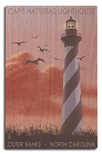 Lantern Press Outer Banks, North Carolina - Cape Hatteras Lighthouse - Sunrise (10x15 Wood Wall Sign, Wall Decor Ready to Hang)