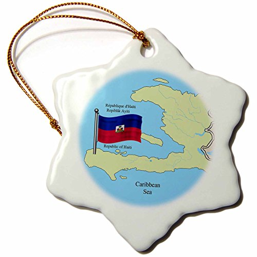 3dRose orn_63254_1 Flag and Map of Haiti with Republic of Haiti Printed in English, French and Haitian Creole Snowflake Decorative Hanging Ornament, Porcelain, 3-Inch