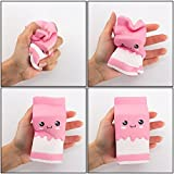 Xinzistar Kawaii Jumbo Slow Rising Squishies Cream Scented Squeeze Kid Toy Phone Charm Gift for Stress Relief (Pink)