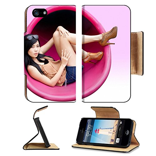 MSD Premium Apple iPhone 5 iPhone 5S Flip Pu Leather Wallet Case iPhone5 IMAGE ID: 11372769 Portrait of Asian girl relaxing on the modern hanging - Female Singapore Model