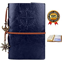 Leather Writing Journal,Vintage Refillable Notebook,Travel Diary,Sketchbook,Planner,Blank Pages,Classic Embossed,Bonus Plastic Zipper Pocket and Card Holders,for Girls and Boys,7 Inches, Blue