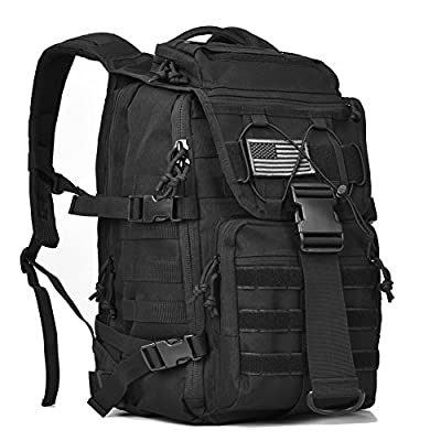 "Military Tactical Backpack 3 Day Assault Pack Bug Out Bags Army Molle Backpacks Rucksacks for 15-15.6"" Laptop Daypack Black"