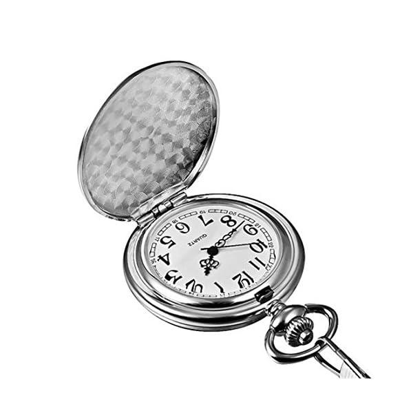 Silver Smooth Surface Quartz Pocket Watch Fob Chain Steampunk White Dial 7