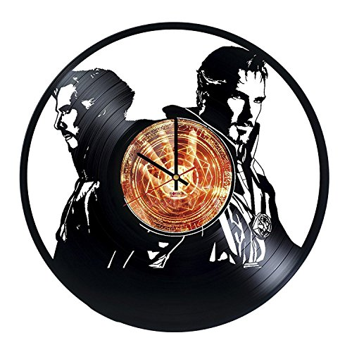 [Superhero Movie Design Vinyl Record Wall Clock - Get unique bedroom or kitchen wall decor - Gift ideas for adults and youth – Legends of Superheroes Unique Modern] (Dr Strange Modern Costume)