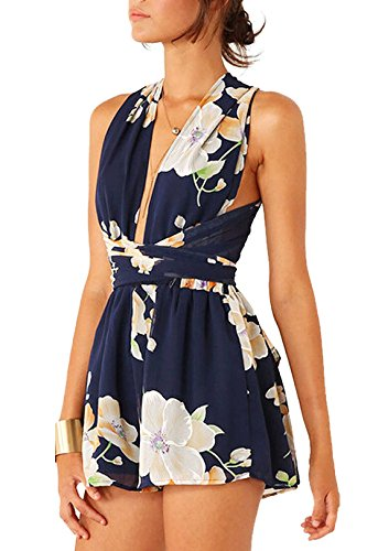 YOINS Women Sexy Floral Chiffon Deep V Neck Self Tie Halter Romper Playsuit Navy US 4