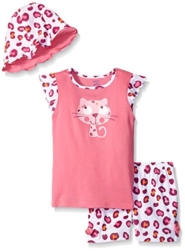 Gerber Little Girls' Toddler Three-Piece Shirt, Bloomer and Tulip Hat Set, Kitty, - Hot Short Kitty