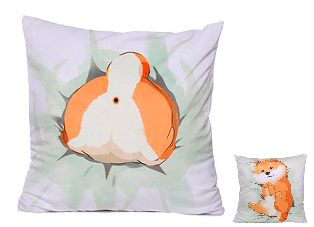 MathewArt Cute Shiba Inu Stuffed Animal Plush Toy Pillow Duplex Printing Throw Pillows