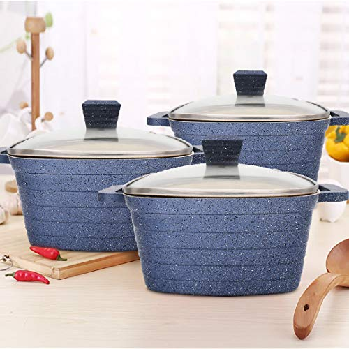 KI 6pcs 2.4/3.1/5.5qt Ceramic Nonstick Cookware Set Casserole Set Aluminum Pots