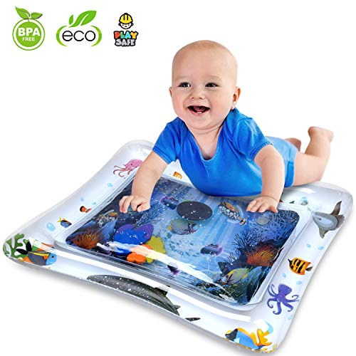 (Inflatable Tummy Time Mat Water Play Mat for Infants & Toddlers Fun Play Activity Baby Playmats Leakproof Water Mat Toy for Baby's Stimulation Growth BPA Free Water Filled Playmat Baby Boy Girl )