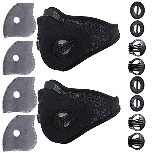 Ligart Upgraded Sport Air Masks, Dust Mask with Extra N99 Activated Carbon Mask Filter for Exhaust Gas, Pollen Allergy, PM2.5, Half Face Masks for Cycling,Running,Hiking, Skiing,Woodworking
