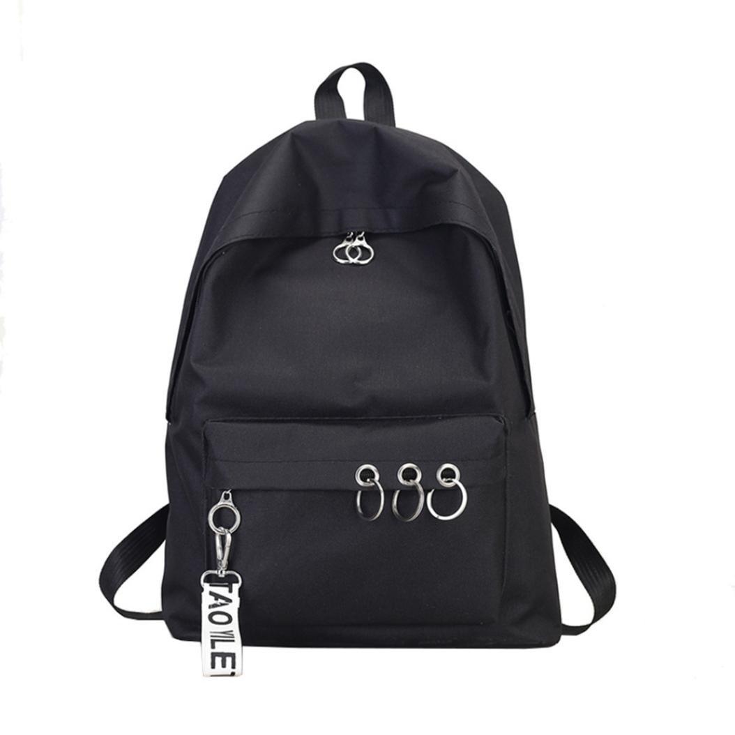 BCDshop Women Shoulder Book Shool Bags Satchel Travel Backpack Large Rucksack Fashion -Ring Decoration (Black)