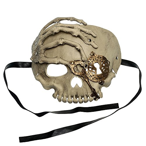 Halloween Half Skull (ILOVEMASKS Halloween Skull With Key Venetian Masquerade Half Face Mask - White)