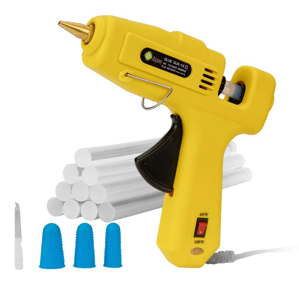 Apas Hot Glue Gun,Full Size 60W/100W Dual Power High Temp Heavy Duty Melt Glue Gun Kit with 10 Pcs Premium Glue Sticks for Arts & Crafts Use,Christmas Decoration/Gifts