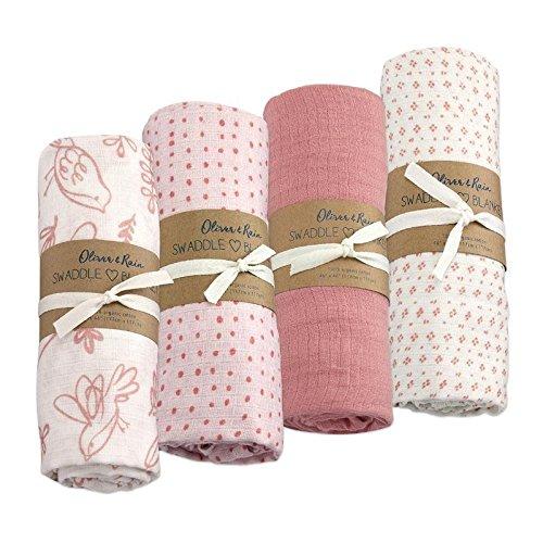 Oliver & Rain Baby Swaddle Sampler - 4-Pack Newborn 100% Organic Cotton Muslin Swaddle Blankets in Bird Print, Mini Dot, Pink, Pink Dot