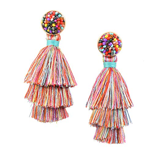 RIVERTREE Womens Layered Tassel Earring Beaded Boho Statement Fringe | Colorful 3 Tiered Long Vintage Chandelier Drop Dangle Earring