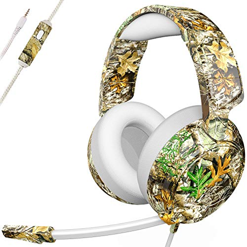 Gaming Headsets PS4 Headset for Xbox One PS4 PC, Stereo Gaming Headphones with Noise Cancelling Mic, Bass Surround, Pro 50mm Driver & Soft Memory Earmuffs for PC Mac Nintendo Switch (Camouflage) (B)