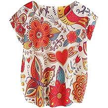 Women Summer Tops Short Sleeve Blouse Flower Printed T Shirt by TOPUNDER