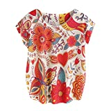 Search : Women Summer Tops Short Sleeve Blouse Flower Printed T Shirt by TOPUNDER