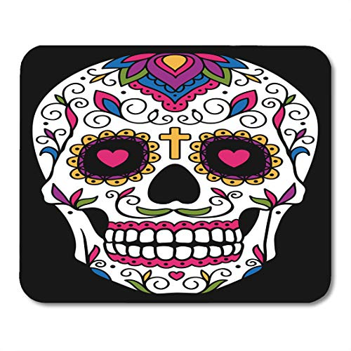 Emvency Mouse Pads Red Day Mexican Sugar Skull Yellow Dead Floral Halloween Cartoon Mouse pad 9.5