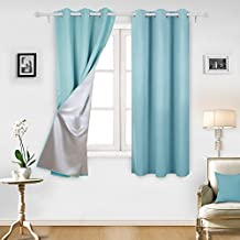 Deconovo Thermal Insulated Blackout Curtains Blackout Drapes with Silver Coating for Sliding Glass Doors 42 By 63 Inch Light Blue 1 Pair