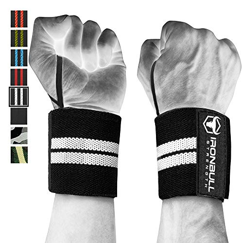 Wrist Wraps (18 Premium Quality) for Powerlifting, Bodybuilding, Weight Lifting - Wrist Support Braces for Weight Strength Training (Black/White)