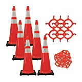 Mr. Chain - 36'' Traffic Cone and Chain Kit – Traffic Orange with Reflective Collars - 36'' Height - 14'' X 14'' base