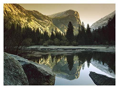 Global Gallery Mt Watkins Reflected in Mirror Lake, Yosemite National Park, California-Paper Art-34''x26'' by Global Gallery