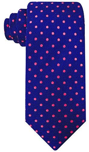 Ties Silk Logo Necktie (100% Silk Woven Necktie Mens Ties | Navy Blue & Pink Polka Dot Tie by Scott Allan Collection)
