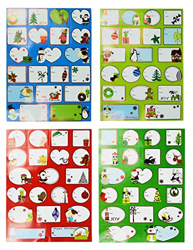 "Set of 160-2""x2""-2""x4"" Self-Adhesive Christmas Gift Tag Stickers - 8.5""x11.25"" Sheets of Gift Tag Stickers - 4 Beautiful Themes - 80 Different Unique Tags!"